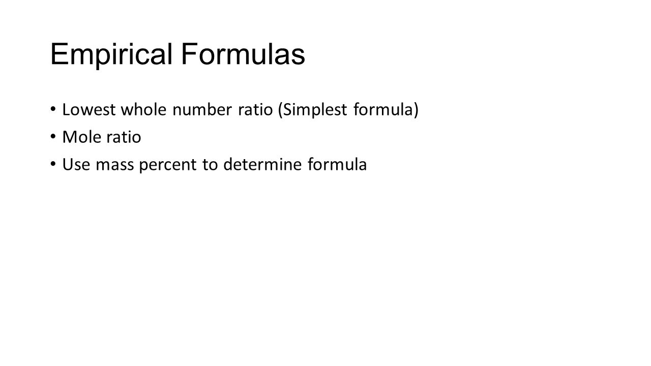 Compound stoichiometry the mole unit for dealing with the number 15 empirical formulas lowest whole number ratio simplest formula mole ratio use mass percent to determine formula robcynllc Images