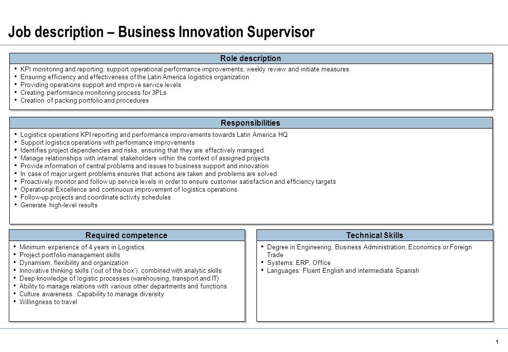 Job Description – Business Innovation Supervisor 1 Role