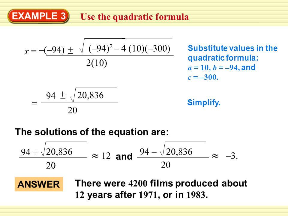 Example 3 Use The Quadratic Formula Y 10x 2 94x 10x 2 94x