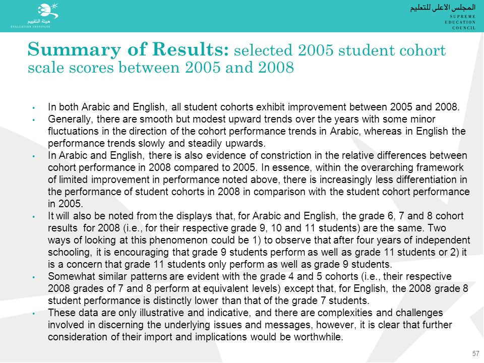 Summary of Results: selected 2005 student cohort scale scores between 2005 and 2008 In both Arabic and English, all student cohorts exhibit improvement between 2005 and 2008.