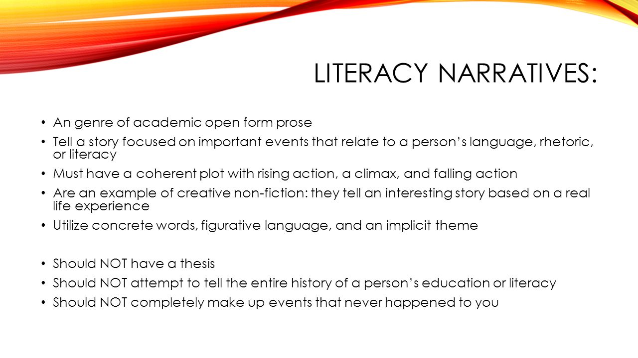 thesis in a literacy narrative