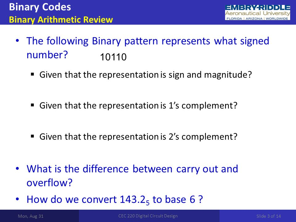 Binary Codes Binary Arithmetic Review Mon, Aug 31 CEC 220 Digital Circuit Design The following Binary pattern represents what signed number.