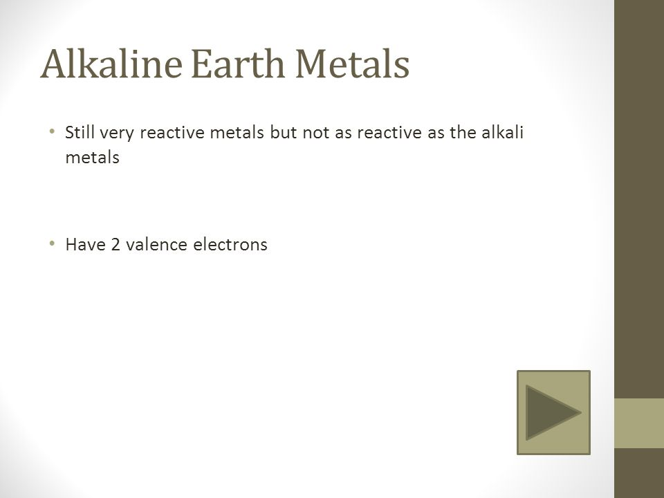 Trends in the periodic table groups alkali metals group 1 4 alkaline earth metals still very reactive metals but not as reactive as the alkali metals have 2 valence electrons urtaz Gallery