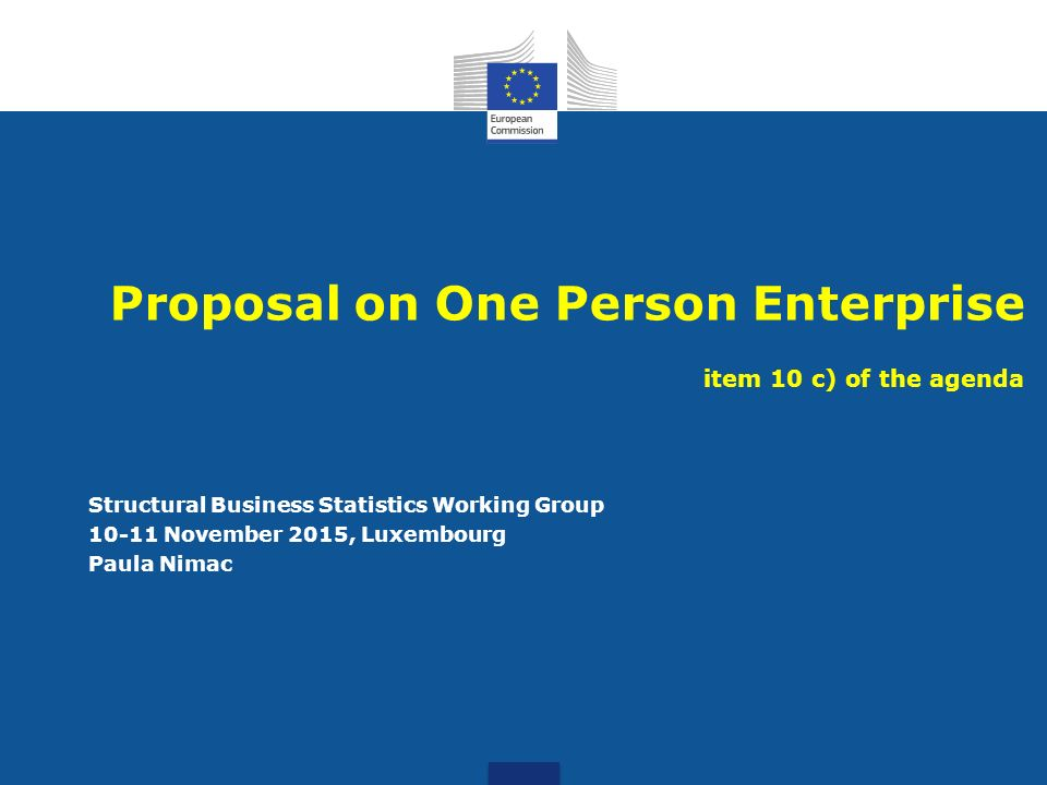 Proposal On One Person Enterprise Item 10 C) Of The Agenda