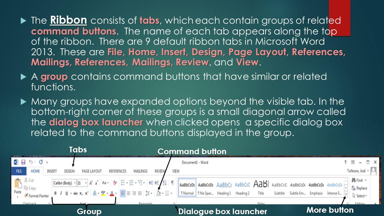 Microsoft word certification prep lesson 1 basic overview ribbon 3 ribbon xflitez Images