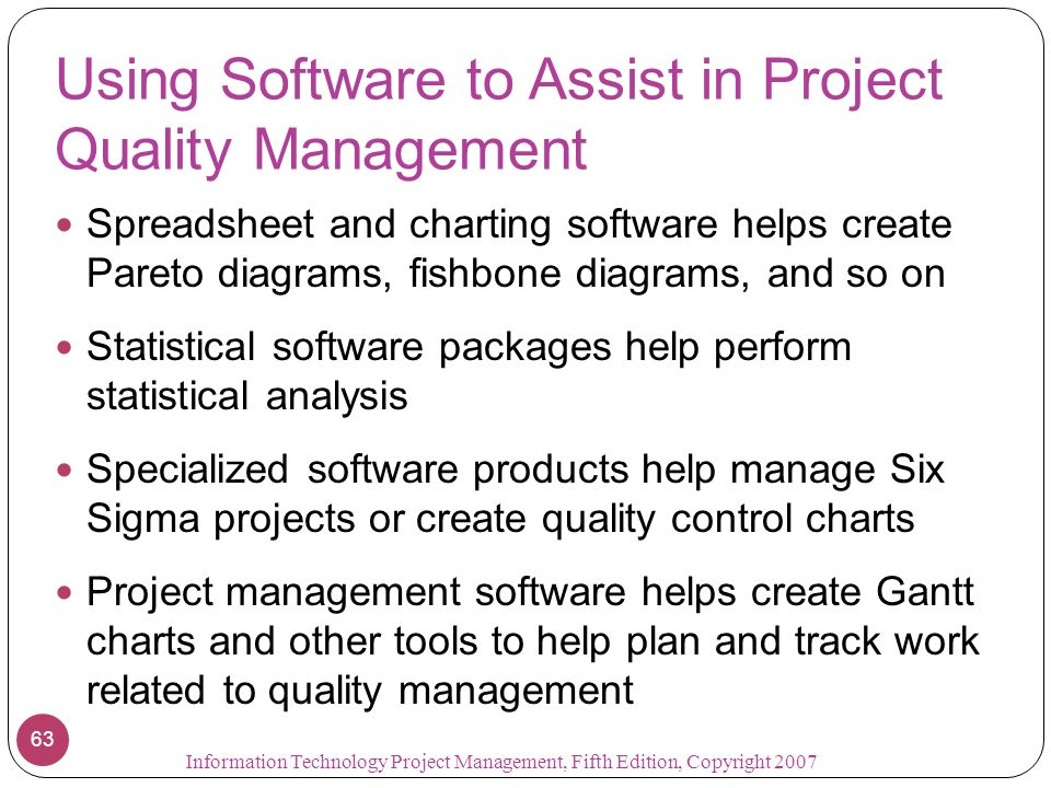 Chapter 8 project quality management information technology project 63 using software to assist in project quality management spreadsheet and charting software helps create pareto diagrams ccuart Choice Image