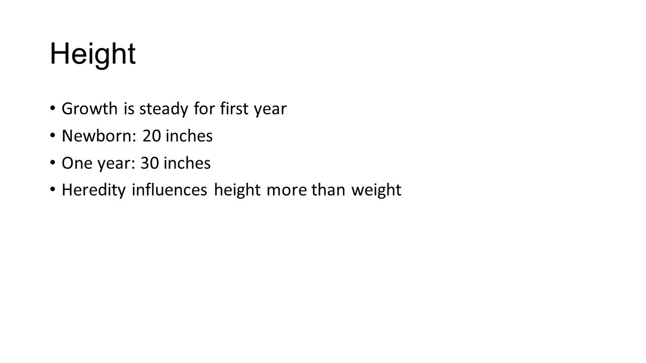 Physical development charts show average weight height and 5 height growth is steady for first year newborn 20 inches one year 30 inches heredity influences height more than weight nvjuhfo Choice Image