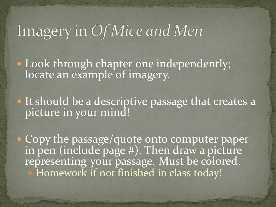 Look through chapter one independently; locate an example of imagery.