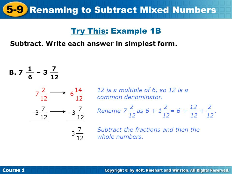 5-9 Renaming to Subtract Mixed Numbers Course 1 Warm Up Lesson ...