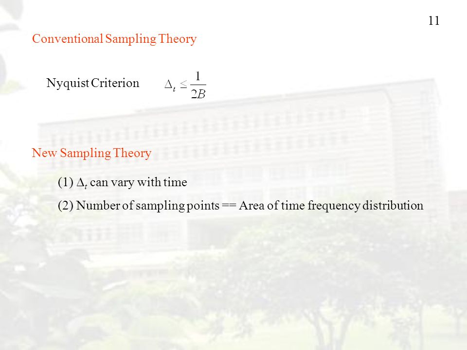 11 Conventional Sampling Theory Nyquist Criterion New Sampling Theory (1)  t can vary with time (2) Number of sampling points == Area of time frequency distribution