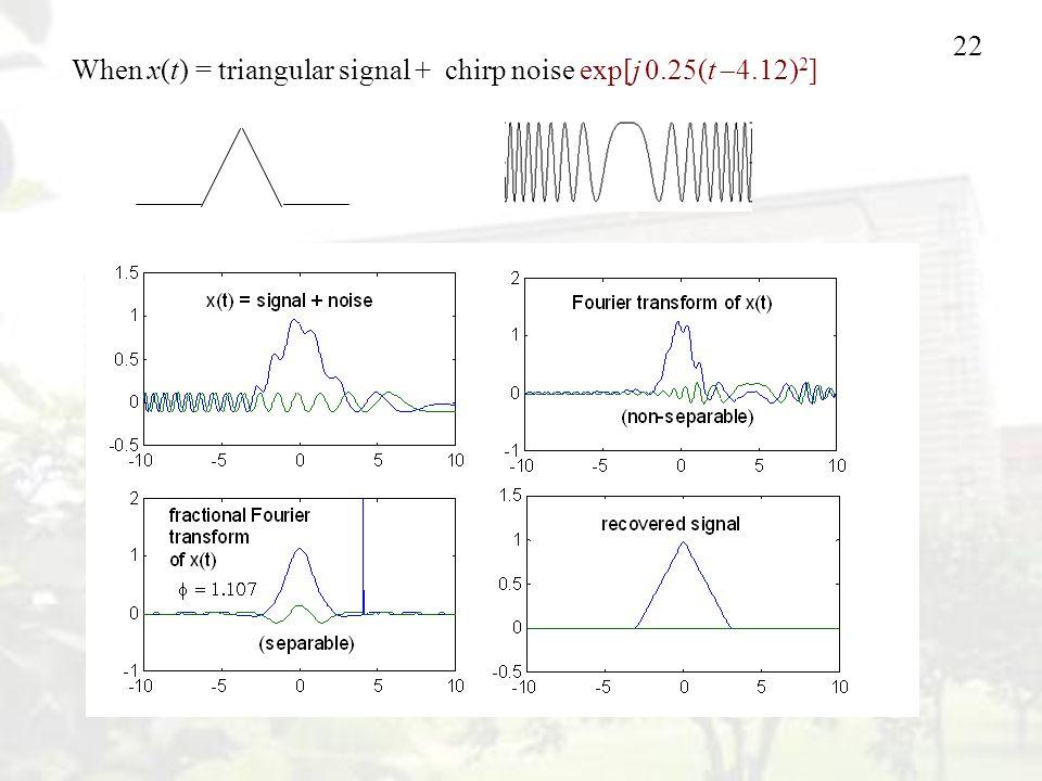 22 When x(t) = triangular signal + chirp noise exp[j 0.25(t  4.12) 2 ]