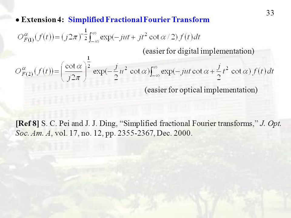33 [Ref 8] S. C. Pei and J. J. Ding, Simplified fractional Fourier transforms, J.