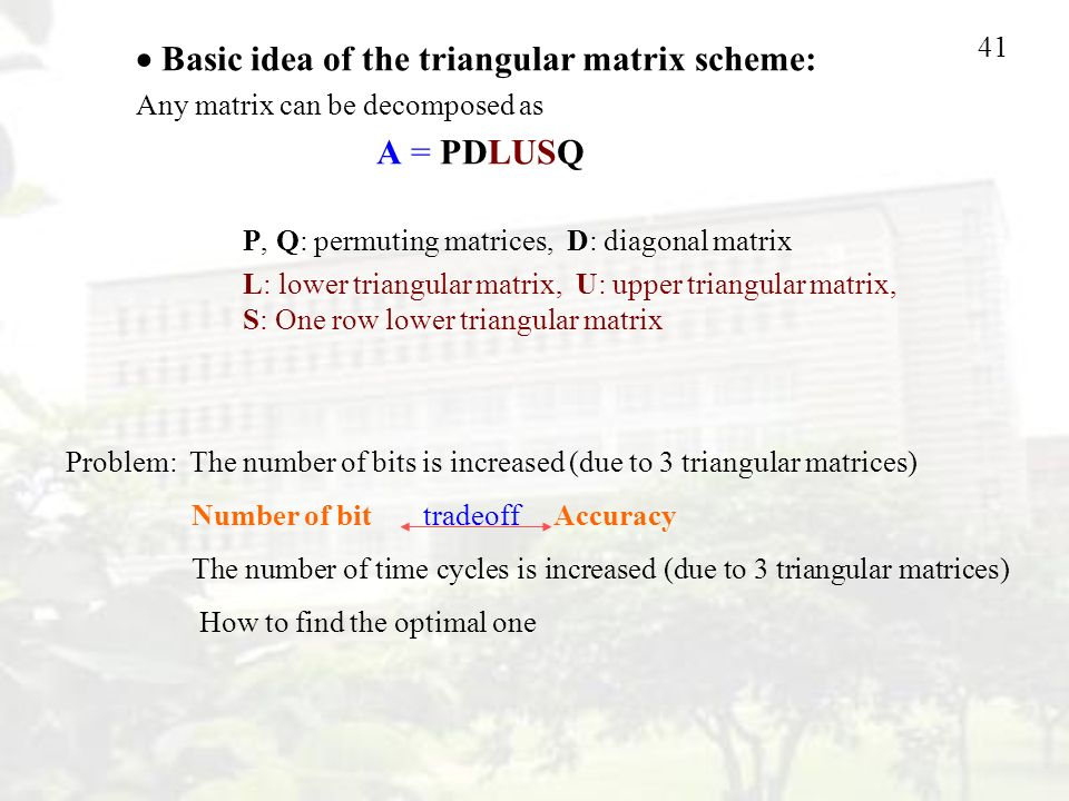 41 Problem: The number of bits is increased (due to 3 triangular matrices) Number of bit tradeoff Accuracy The number of time cycles is increased (due to 3 triangular matrices) How to find the optimal one  Basic idea of the triangular matrix scheme: Any matrix can be decomposed as A = PDLUSQ P, Q: permuting matrices, D: diagonal matrix L: lower triangular matrix, U: upper triangular matrix, S: One row lower triangular matrix