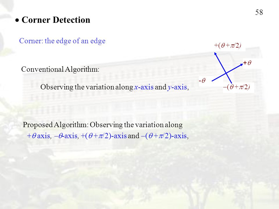 58 ++  (  +  /2)  Corner Detection Conventional Algorithm: Observing the variation along x-axis and y-axis, Proposed Algorithm: Observing the variation along +  axis,  -axis, +(  +  /2)-axis and  (  +  /2)-axis, -- +(  +  /2) Corner: the edge of an edge