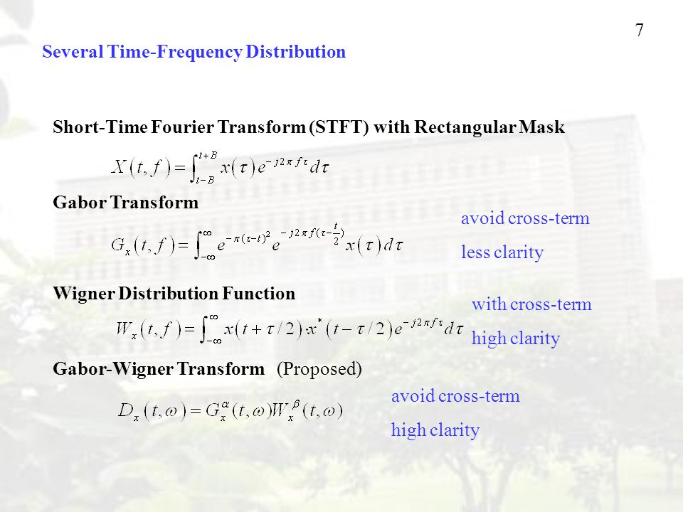 7 Several Time-Frequency Distribution Short-Time Fourier Transform (STFT) with Rectangular Mask Gabor Transform Wigner Distribution Function Gabor-Wigner Transform (Proposed) avoid cross-term less clarity with cross-term high clarity avoid cross-term high clarity