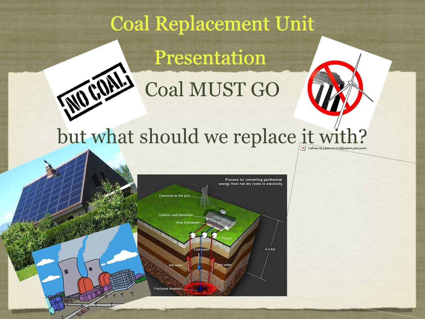 Coal Replacement Unit Presentation Coal Replacement Unit Presentation Coal MUST GO but what should we replace it with.