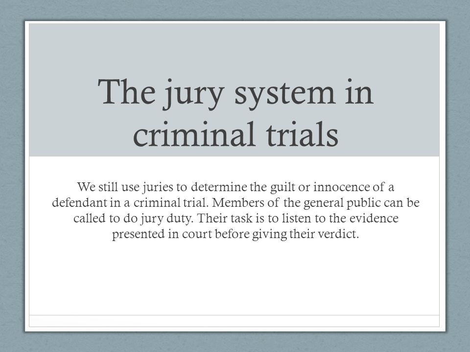 eight stages in a criminal trial There are eight stages in a criminal trial, the trial initiation, jury selection, openings statements, presentation of evidence, closing arguments, judge's charge to the jury, jury deliberations and the verdict.