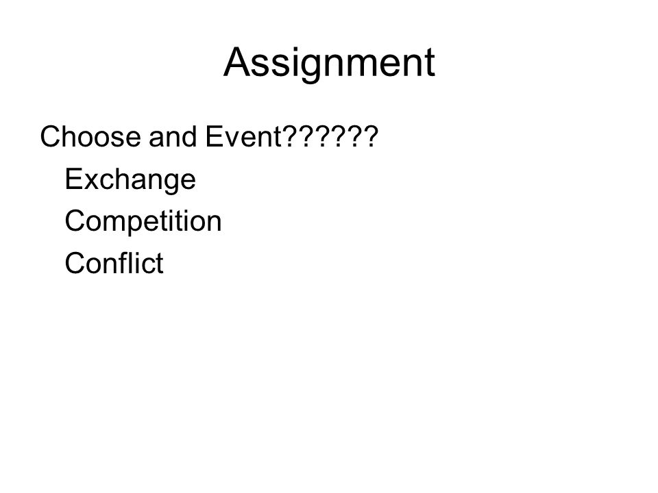 Assignment Choose and Event Exchange Competition Conflict