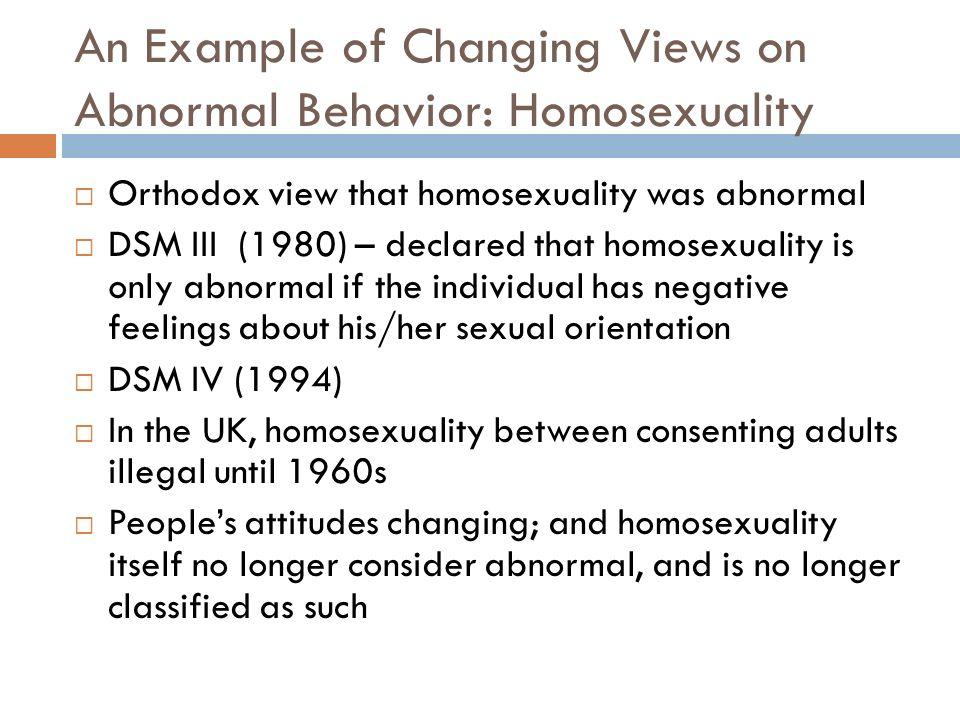 homosexuality is abnormal Michael levin – why homosexuality is abnormal levin's central thesis is not that (male) homosexuality1 is immoral but rather, that it is abnormal it is a misuse of body parts.