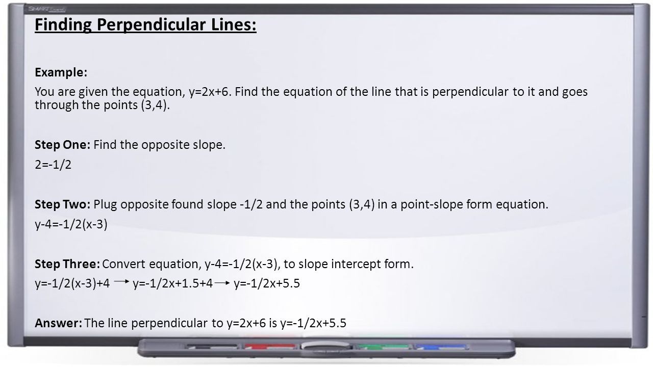 Forms of linear equations point slopey y 1 mx x 1 slope finding perpendicular lines example you are given the equation y2x falaconquin