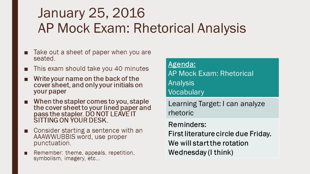 ap mock exam rhetorical analysis take out a 25 2016 ap mock exam rhetorical analysis 9632take out a sheet of