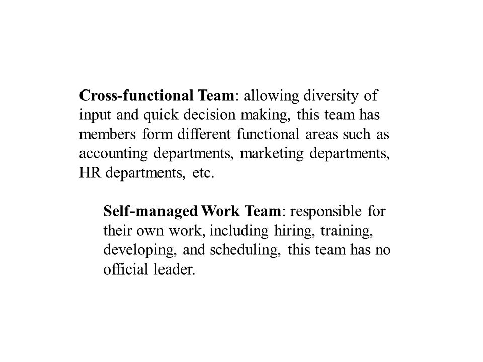 Cross-functional Team: allowing diversity of input and quick decision making, this team has members form different functional areas such as accounting departments, marketing departments, HR departments, etc.