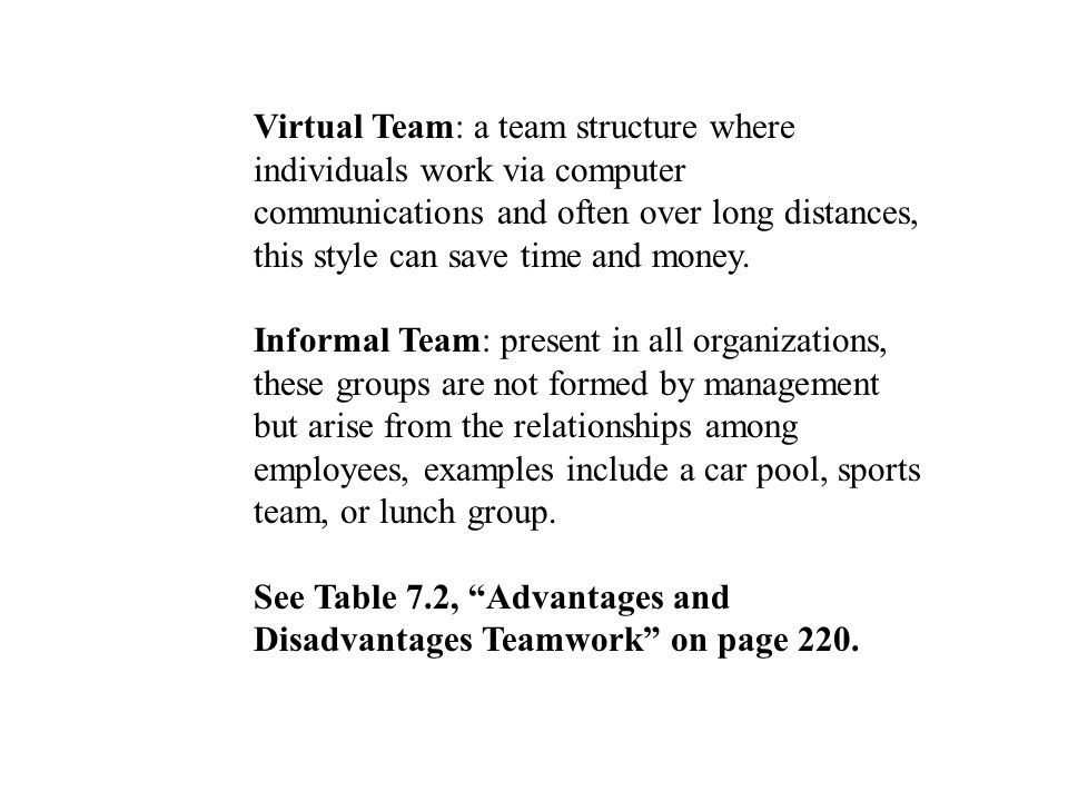 Virtual Team: a team structure where individuals work via computer communications and often over long distances, this style can save time and money.