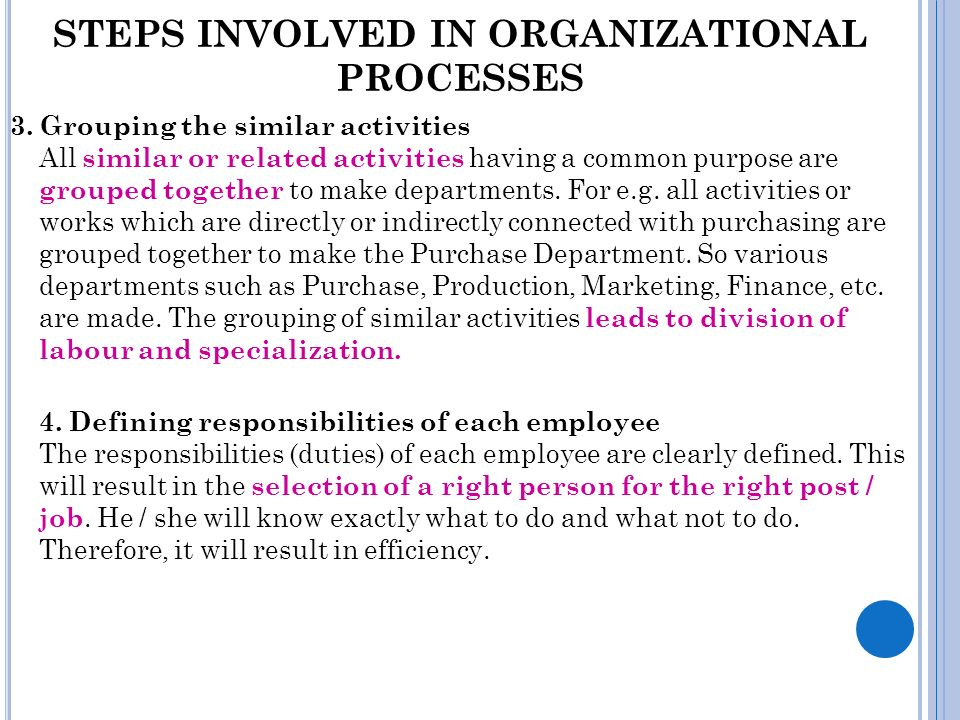 STEPS INVOLVED IN ORGANIZATIONAL PROCESSES 5.