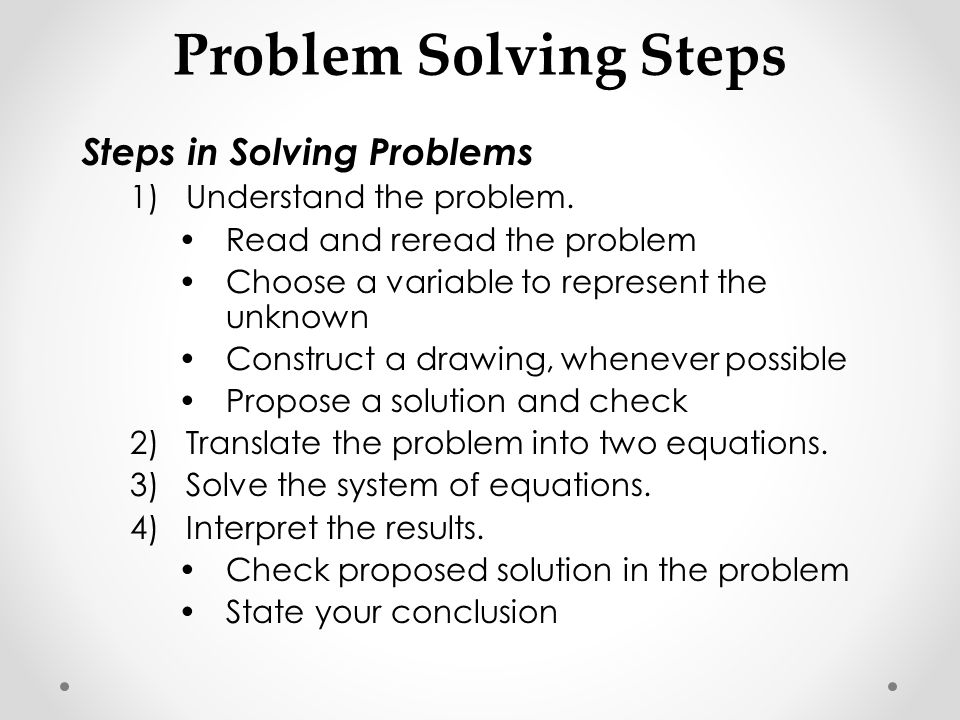 Systems of linear equations and problem solving