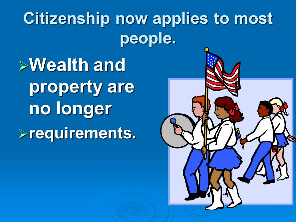 In ancient Rome where the word Civics was 1 st used.  only wealthy land owners could be citizens.  Today the word citizen- means a member of communi