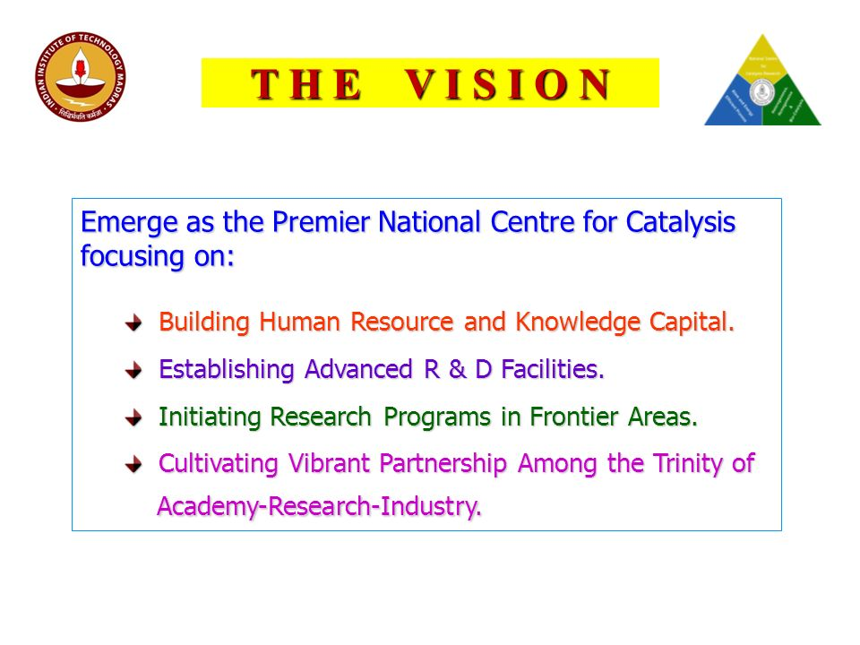 T H E V I S I O N Emerge as the Premier National Centre for Catalysis focusing on: Building Human Resource and Knowledge Capital.