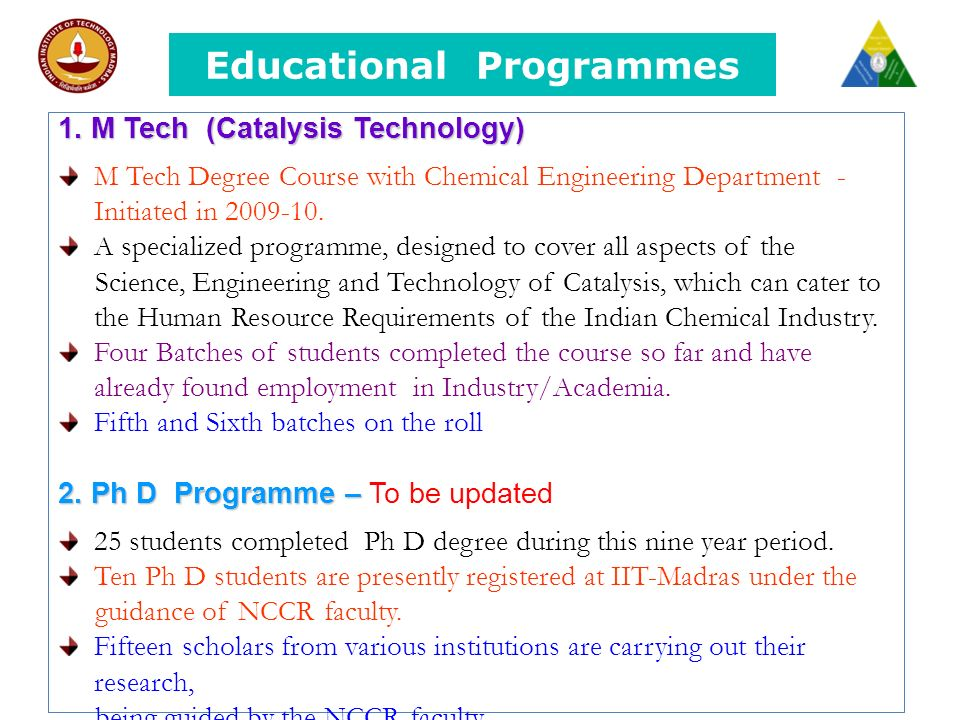 Educational Programmes 1.