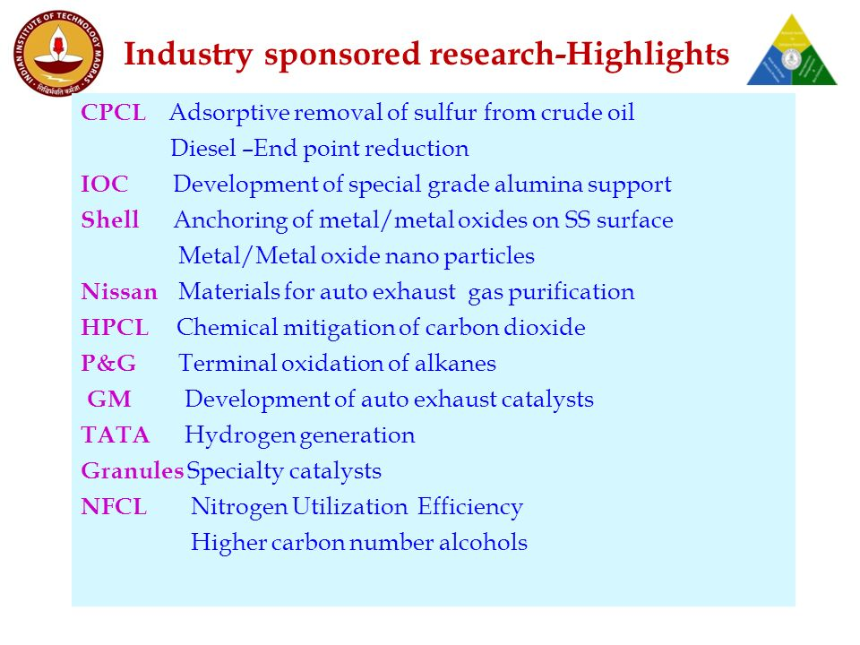 Industry sponsored research-Highlights CPCL Adsorptive removal of sulfur from crude oil Diesel –End point reduction IOC Development of special grade alumina support Shell Anchoring of metal/metal oxides on SS surface Metal/Metal oxide nano particles Nissan Materials for auto exhaust gas purification HPCL Chemical mitigation of carbon dioxide P&G Terminal oxidation of alkanes GM Development of auto exhaust catalysts TATA Hydrogen generation Granules Specialty catalysts NFCL Nitrogen Utilization Efficiency Higher carbon number alcohols