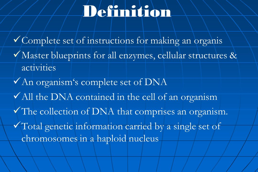 Genomes definition complete set of instructions for making an 2 definition malvernweather Images