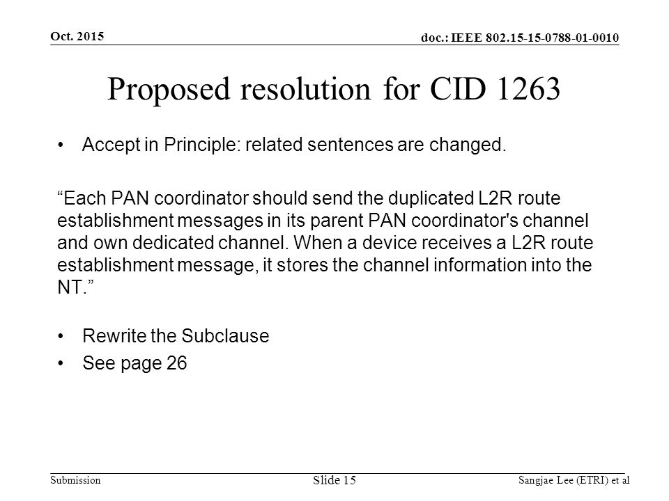 doc.: IEEE Submission Proposed resolution for CID 1263 Accept in Principle: related sentences are changed.