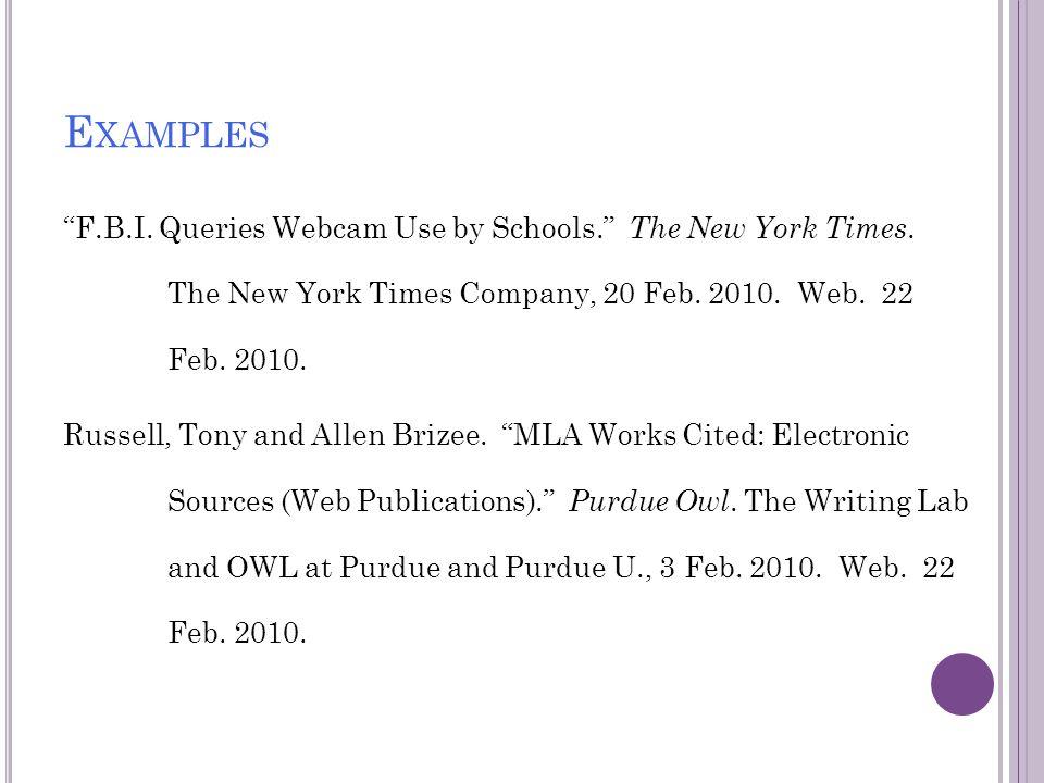 mla works cited format website