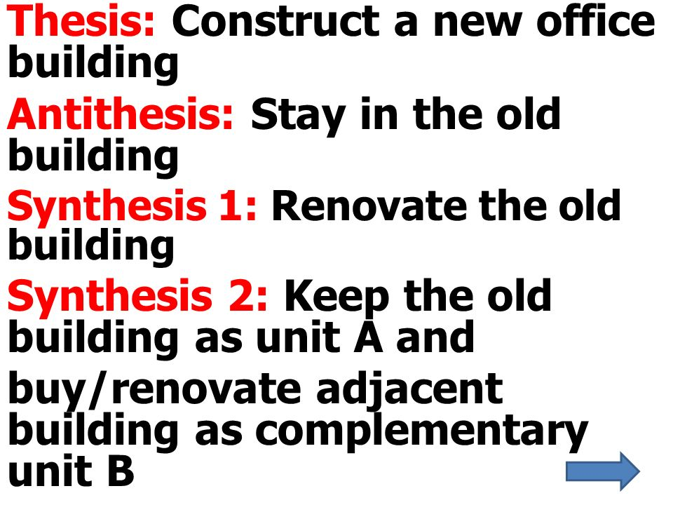 thesis antithesis synthesis essay