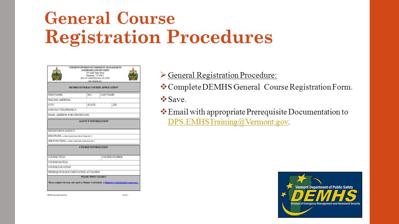 Vermont Training Program Procedure Division of Emergency ...