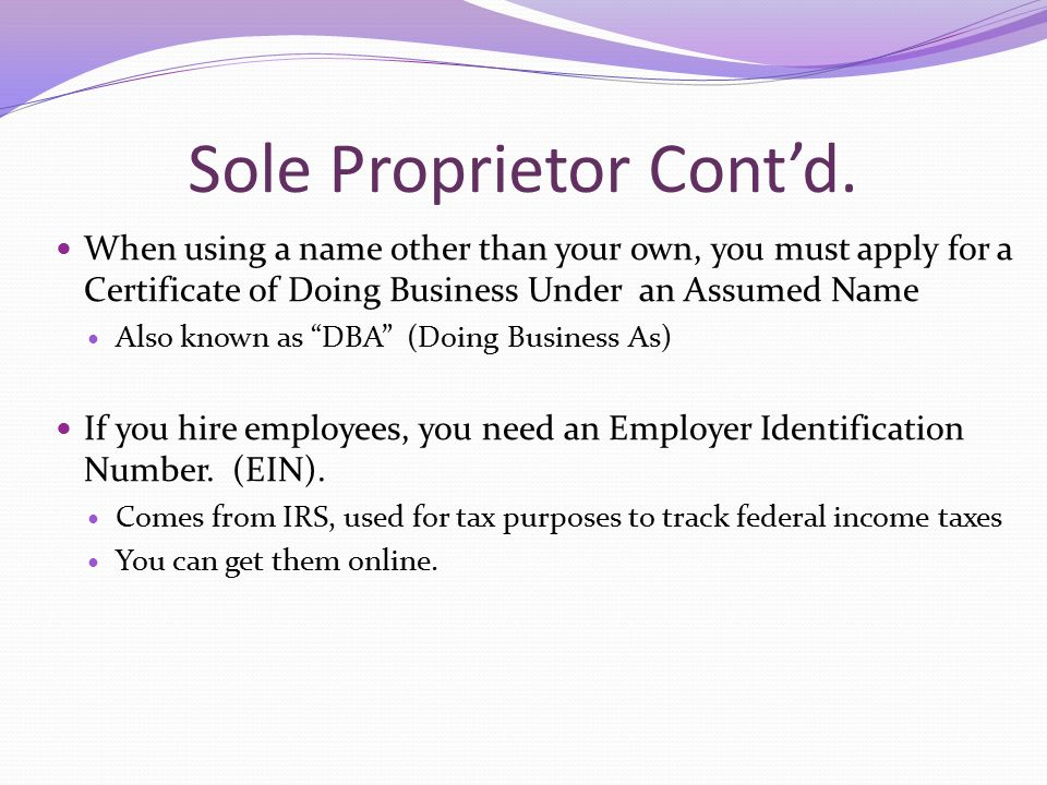 Unit 4 types of business ownership sole proprietorship easiest 3 sole proprietor ccuart Image collections