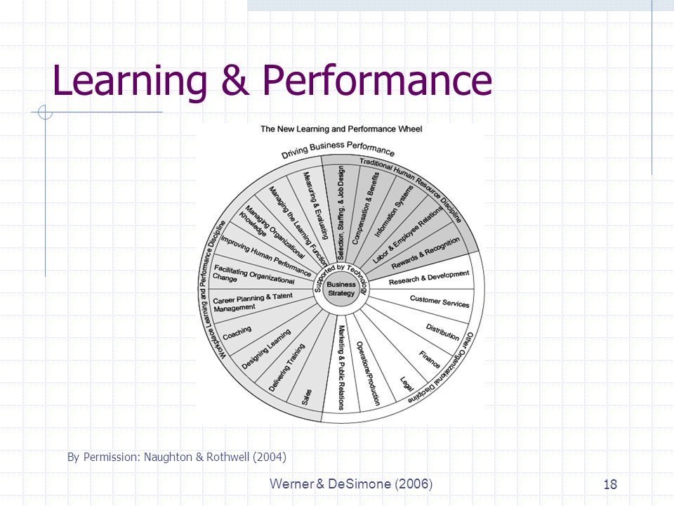 Werner & DeSimone (2006)18 Learning & Performance By Permission: Naughton & Rothwell (2004)