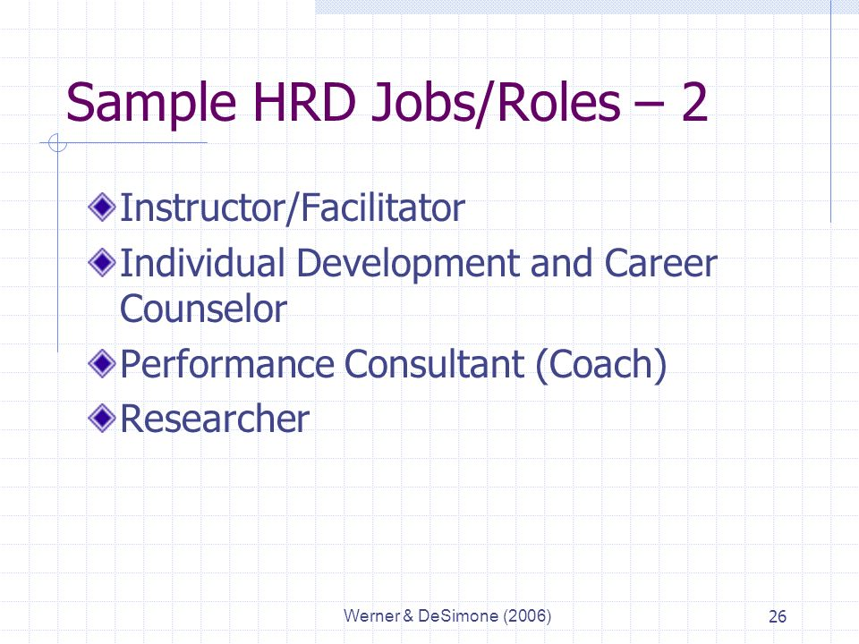 Werner & DeSimone (2006)26 Sample HRD Jobs/Roles – 2 Instructor/Facilitator Individual Development and Career Counselor Performance Consultant (Coach) Researcher