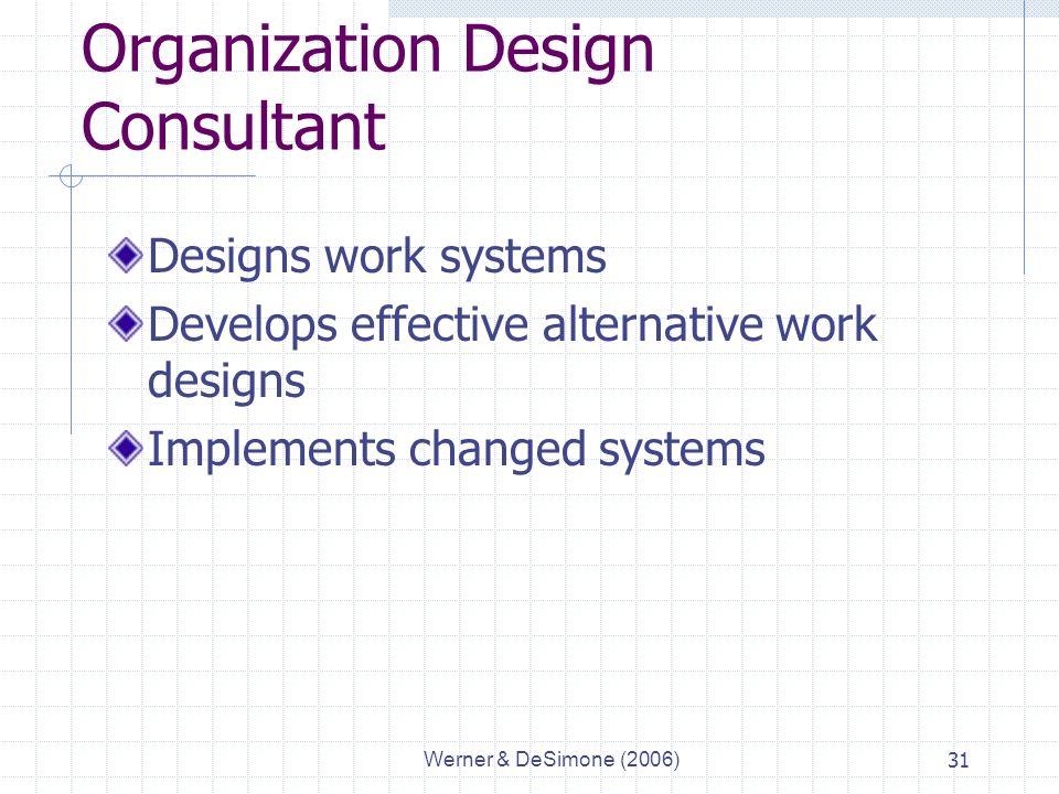 Werner & DeSimone (2006)31 Organization Design Consultant Designs work systems Develops effective alternative work designs Implements changed systems