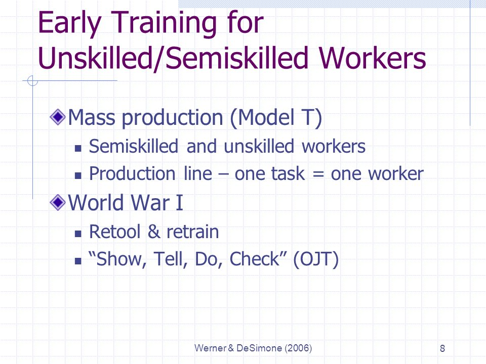 Werner & DeSimone (2006)8 Early Training for Unskilled/Semiskilled Workers Mass production (Model T) Semiskilled and unskilled workers Production line – one task = one worker World War I Retool & retrain Show, Tell, Do, Check (OJT)