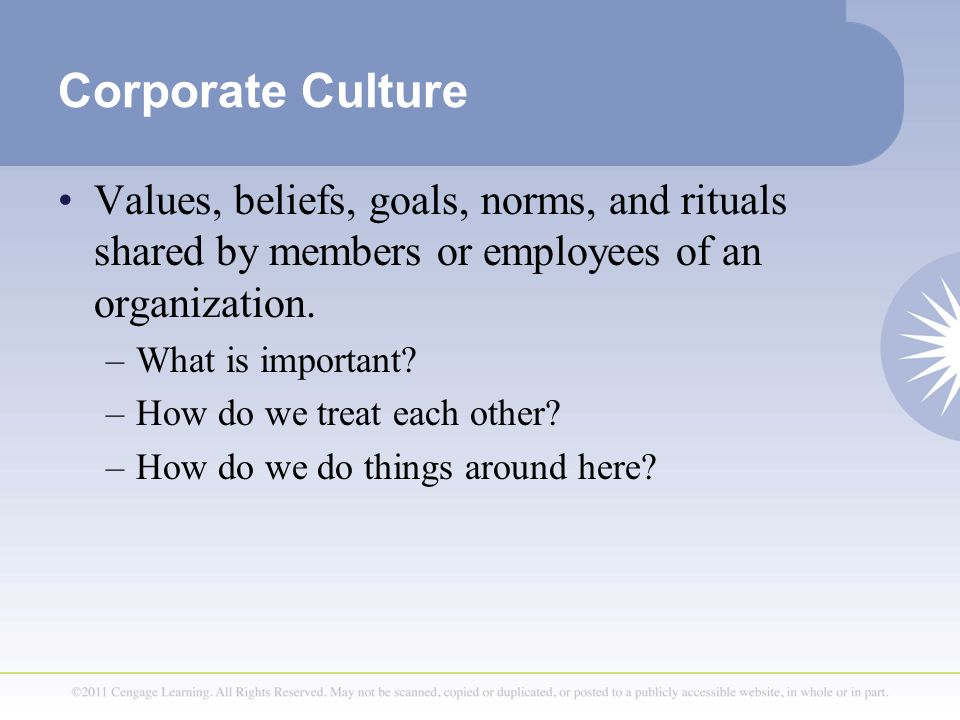 Corporate Culture Values, beliefs, goals, norms, and rituals shared by members or employees of an organization. –What is important? –How do we treat e