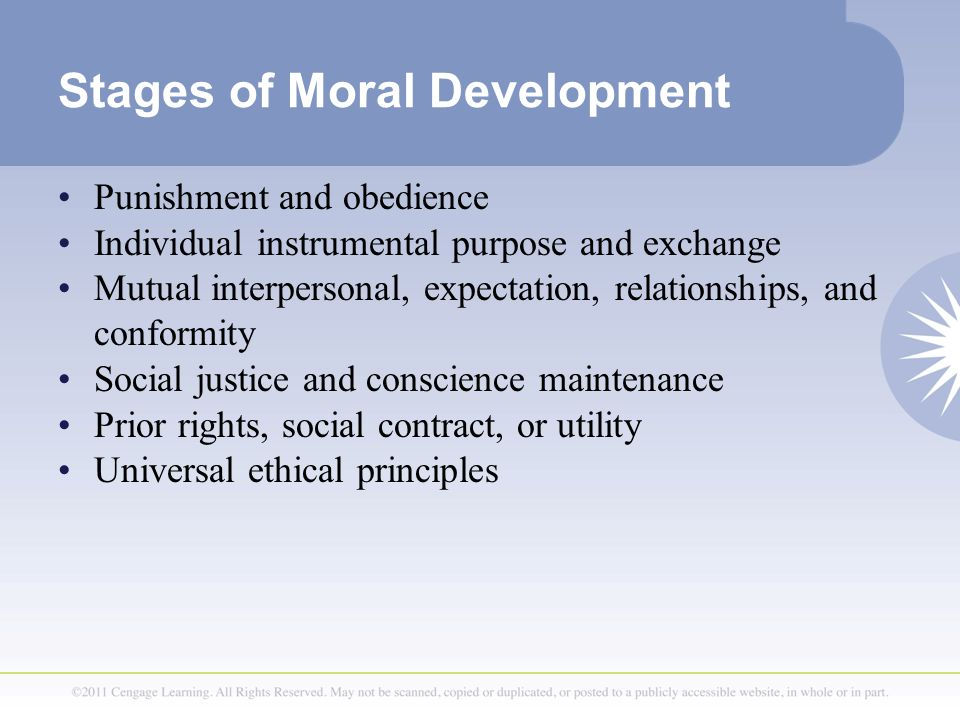 Stages of Moral Development Punishment and obedience Individual instrumental purpose and exchange Mutual interpersonal, expectation, relationships, an