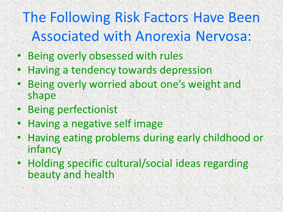 an overview of the eating problem anorexia nervosa Topic overview what is anorexia nervosa what causes anorexia eating disorders are recognizing or wanting to talk about having a problem with eating or.