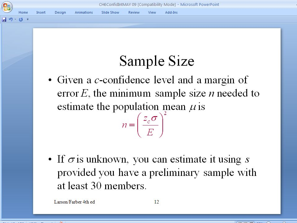 Chapter Outline 6.1 Confidence Intervals for the Mean (Large ...