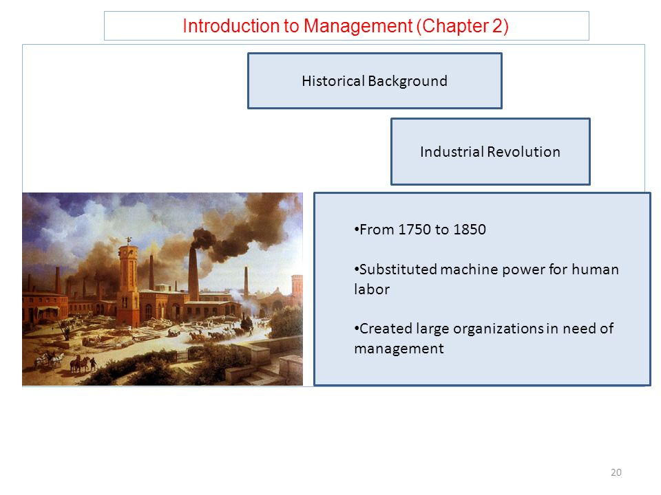 Introduction to Management (Chapter 2) 20 Historical Background Industrial Revolution From 1750 to 1850 Substituted machine power for human labor Crea