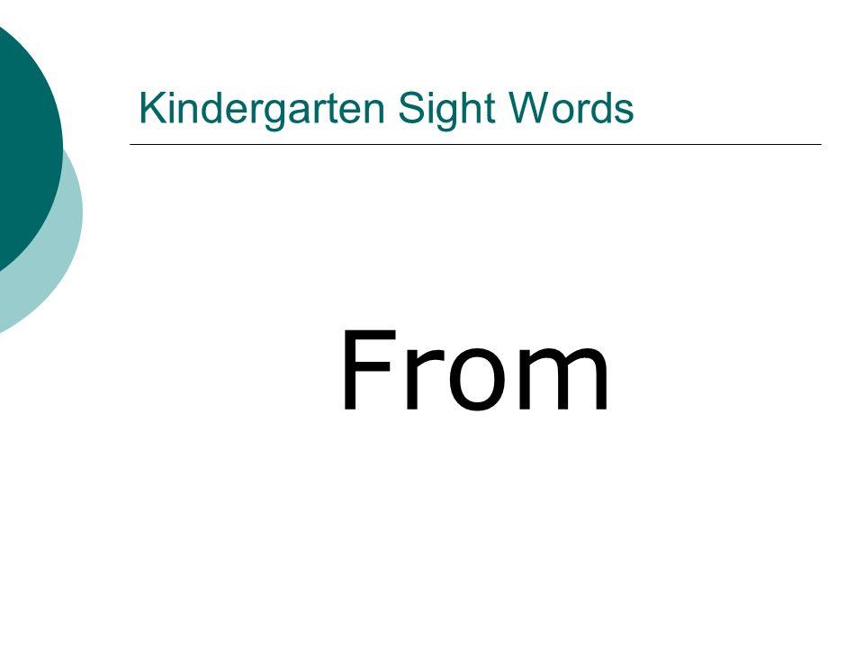 Kindergarten Sight Words From