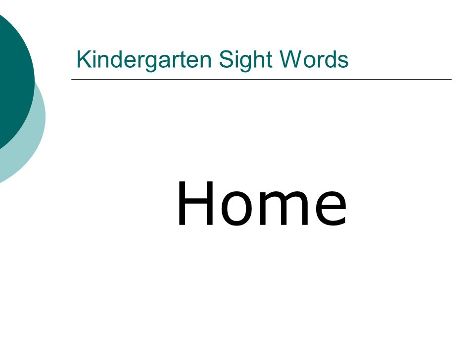 Kindergarten Sight Words Home